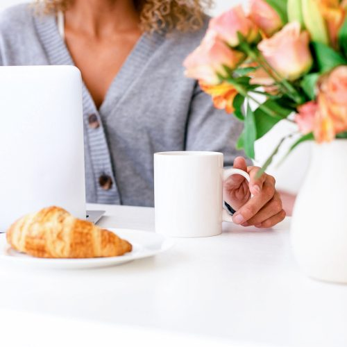 happy morning with coffee croissant and coffee