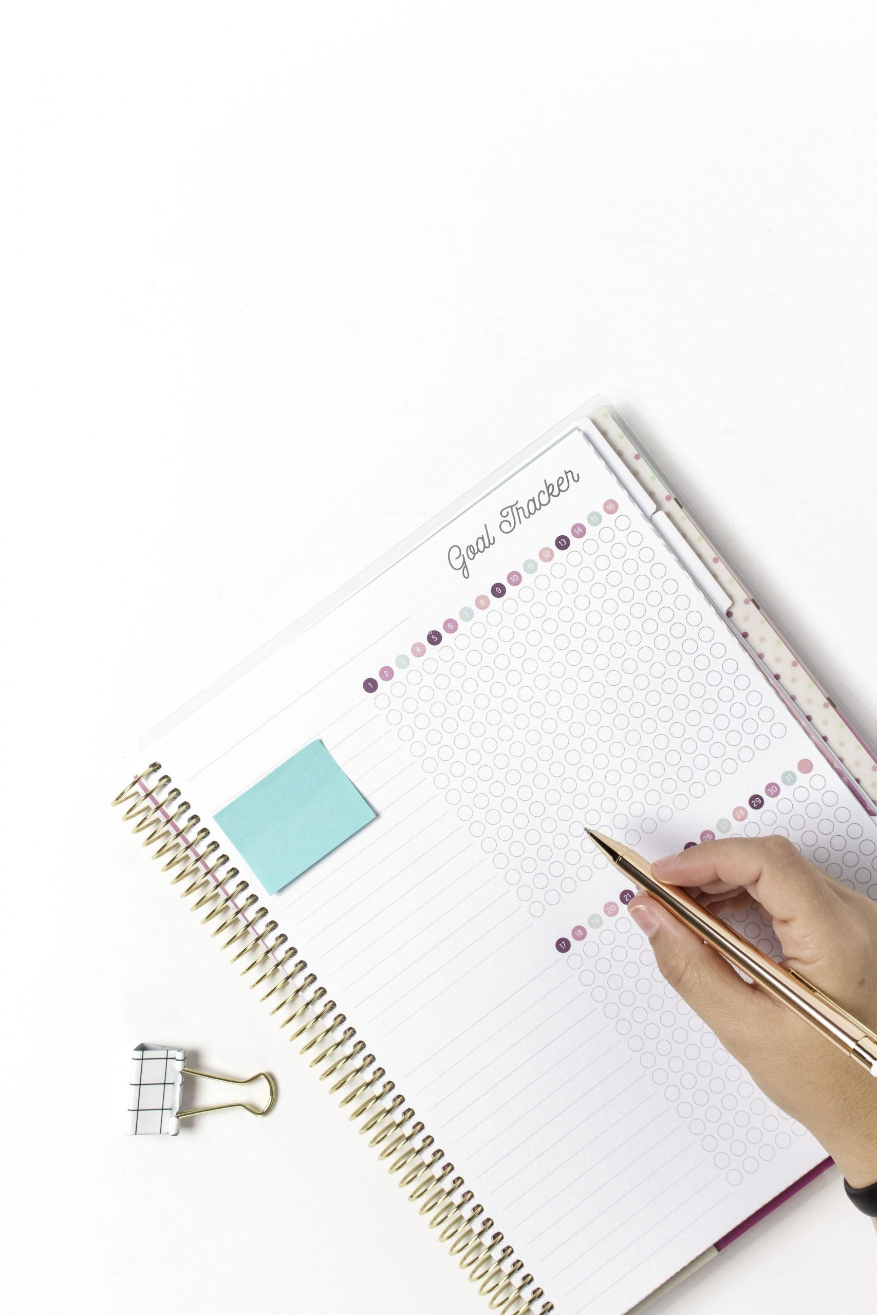 Goal tracker planner with pen