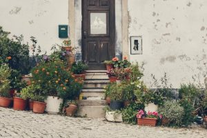 Front door is old beautiful building surrounded by flowers
