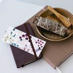 Journal and sage sitting on tabletop