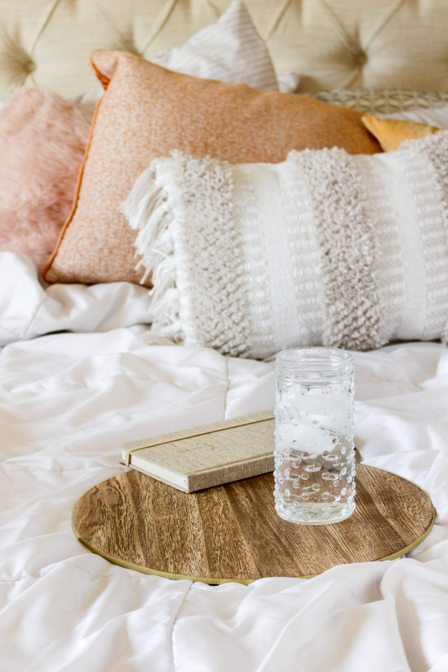 Relaxed reading with books and glass of water