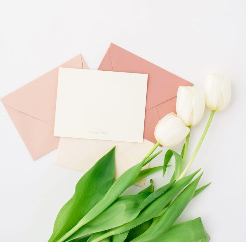 Thank you note with white tulips